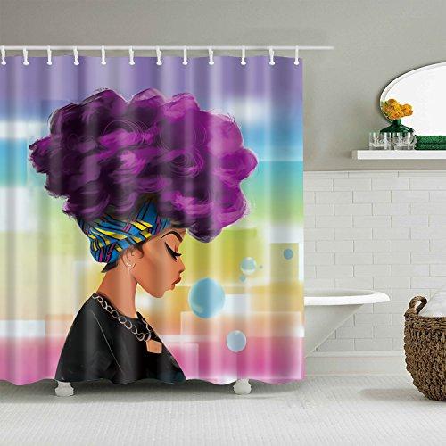 gwregdfbcv Purple hair beauty pattern shower curtainBathroom accessories 180X180CM waterproof and mildew shower curtain
