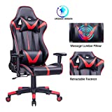 Blue Whale Gaming Chair PC Computer Chair Ergonomic Video Game Chair High Back Racing Gamer Chair Reclining Leather Office Chair with Headrest and Lumbar Support BW192 Red