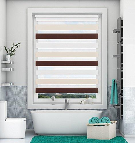 Doppelrollo Klemmfix ohne Bohren Weiß-Beige-Braun 70x150cm Duo Rollo mit Klämmträgern Sicht und Sonnenschutz für Fenster und Türen
