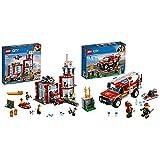 LEGO City Fire - Parque de Bomberos, estación de Juguete para Construir + City Town - Camión de Intervención de la Jefa de Bomberos Vehículo de Juguete de construcción para Recrear Aventuras