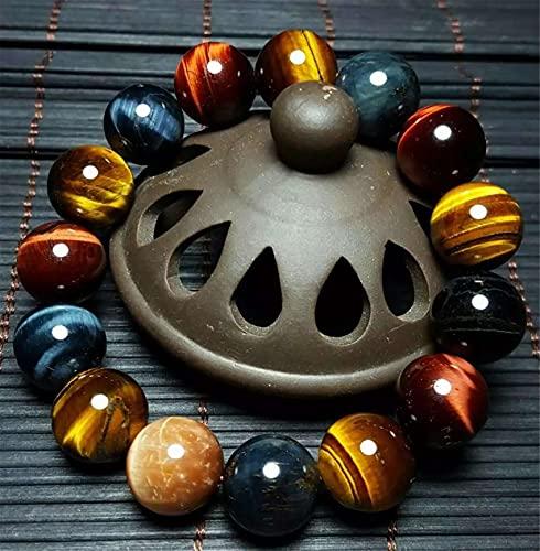 Pulsera de Cristal Natural Feng Shui Healing Lucky Charm Color Tiger's Eye's Eye Crystal Stone Chakra Balance Brazalet 14mm Beauted Wealth Amulet atrae Dinero Prosperidad Suerte