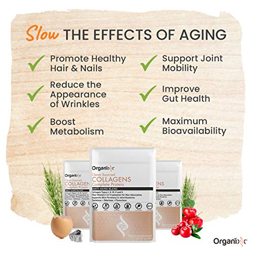 51UYvh9eYAL - Organixx - Clean Sourced Collagens - Powerful Anti-Aging Supplement - 20 Servings - Aid the Appearance of Fine Lines & Wrinkles, Help Ease Joint Discomfort, Features Five Types of Collagen
