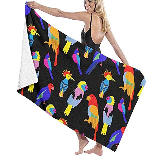 Edmun Toalla de Playa de Microfibra Toalla de baño de Aves Tropicales exóticas Toalla de Playa Toalla de Secado rápido para Piscina Yoga Camping Gimnasio Deporte 80 * 130cm