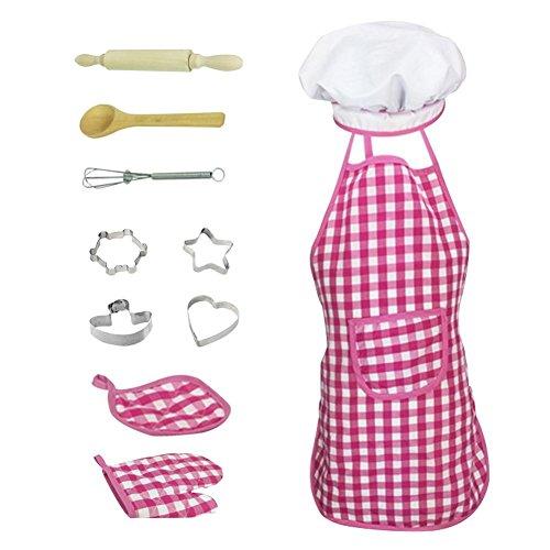 Banane Juego de chef para nios, 11 piezas de disfraz de cocina, kits de simulacin de rol, juego completo de cocina y horneado para nios con delantal, guantes y cubiertos parsimonious