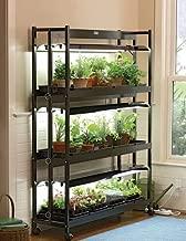 Gardener's Supply Company Indoor Grow Light, 3-Tier Stand Sunlite Light Garden with Plant Trays