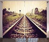ABAKUHAUS Vías de Tren Cortinas, Ferrocarril Rural de la Vendimia, Sala de Estar Dormitorio Cortinas Ventana Set de Dos Paños, 280 x 225 cm, Multicolor