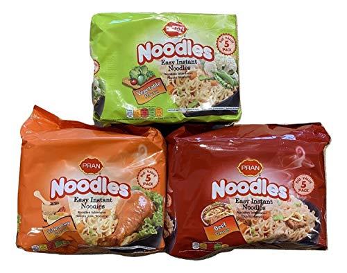 Pran Easy Instant Noodles 3 Bolsas de Curry de Pollo, Sabor de Carne y Vegetales Gran Valor 15 Paquetes
