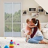 Cyttengo Magnetic Screen Door, Magic Mesh Screen Door, Door Net Screen with Magnets Full Frame Fits Door up to 37 x 81 inch - Polyster Black (White-Polyster, 39 x 82 inch)