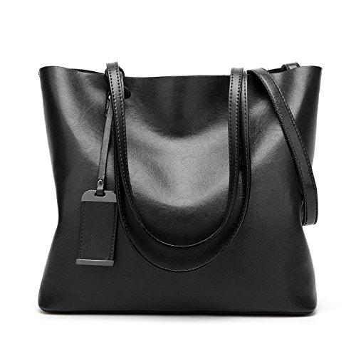 KrisAnna Coolives Damen Shopper Tasche aus PU-Leder mit Schulterriemen Schultertasche Umhängetasche Eimer Handtasche für Frauen Schwarz EINWEG