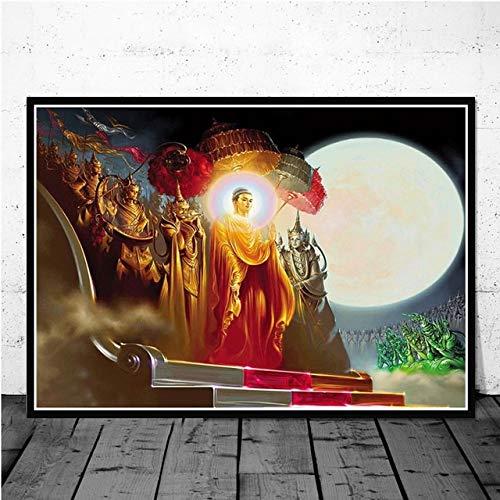 Z.L.F.J.P Tibetisch Sakyamuni und Arhat Thangka Tibet Buddhismus Buddha Poster Wandkunst Bild Poster und Drucke Leinwand Malerei Dekor Obrazy Plakat (Color : 10, Size (Inch) : 60x80cm)