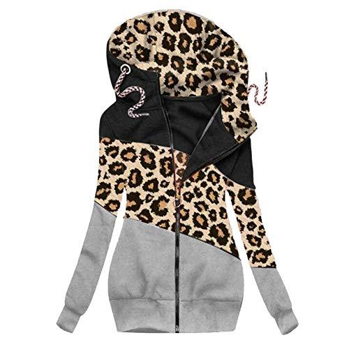Masrin Damenmantel Mode Leopardenmuster Plus Samt Warme Hoodie Jacke Reißverschluss Schlanke Lange Oberbekleidung Bluse(L,Gelb)