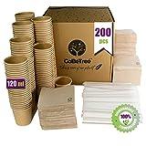 200 tazze da caffè usa e getta Kraft con PLA per caffè espresso da 120 ml con agitatori in legno in tazza di carta per caffè e tovaglioli riciclati