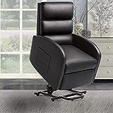 Pawnova Power Lift Massage PU Leather Huge Thick Padded Seat Recliner Sofa, 29.50'x 25.00'x 25.00', Black