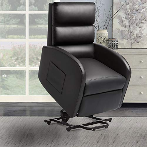 Pawnova Huge Thick Padded Seat Electric Power Lift Safety Device and Massage Function, PU Leather Living Room Single Sofa, Home Leisure Recliner Chair for Elderly People, 29.50'x 25.00'x 25.00', Black