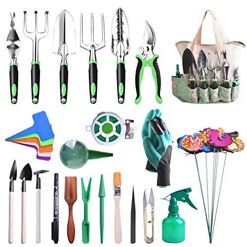 kuman Garden Tool Set 50 PCS Heavy Duty Attrezzo da Giardino Kit with Soft Rubberized Non-Slip Handle, Garden Storage Tote Bag Gardening Supplies Gifts