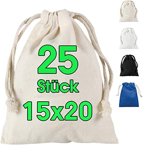 ELES VIDA 15 x 20 cm Baumwoll Säckchen 25 Stück mit Kordelzug, Aufbewahrung Kleine Stoffbeutel für Kindergeburtstage – Hochzeiten und Party - Nachhaltig DIY Tasche Mitbringsel zum bemalen in Natur