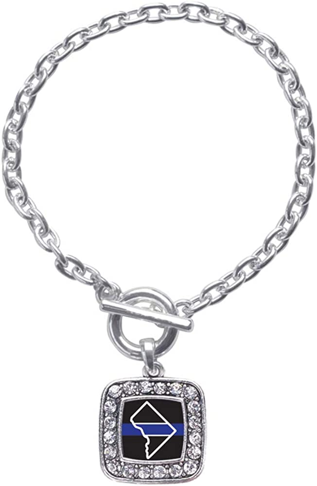 Inspired Silver - At the price Square Charm Bracelet with Overseas parallel import regular item Cubic Toggle