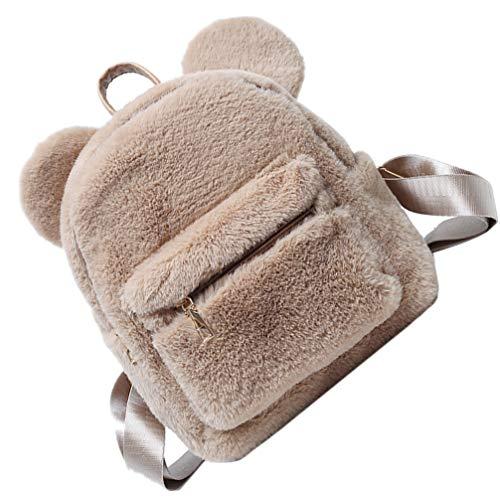 VALICLUD Plush Animal Backpack Faux Fur Teddy Bear Backpack Mini Bear Ear Shoulder Bag Canvas Purse Creative Handbag For Kids School Travel Office Outdoor Brown