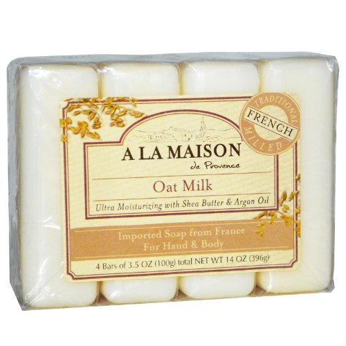 Jabón de mano y cuerpo, leche de avena, 4 barras - A La Maison de Provence