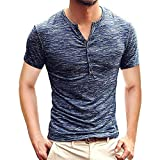 Camiseta para Hombre,Verano Manga Corta Color sólido botón Moda Diario Slim Fit Casual T-Shirt Blusas Camisas Originales Cuello Redondo Suave básica Camiseta vpass