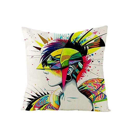 kakshi 4er Set Dekorativ Kissenbezug schöne Frisur Geometrische Muster Sofa Büro Dekor Kissenhülle aus Baumwoll und Leinen45x45cm