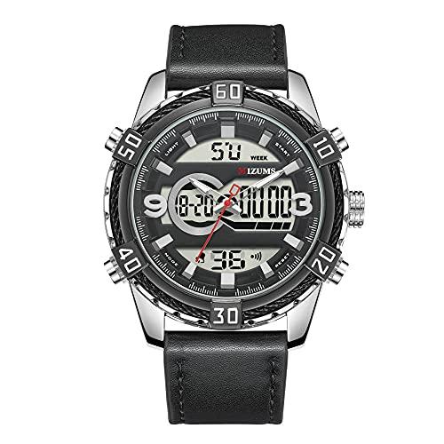Reloj de Cuarzo para Hombre Reloj Calendario Masculino Reloj con Correa de Cuero para Caballero -B