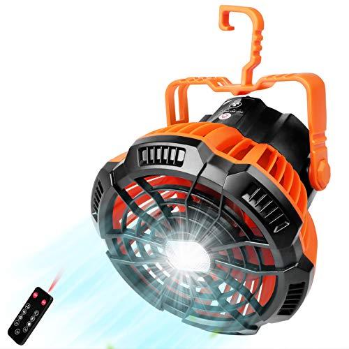 Roeam Ventilador Portátil para Camping con Luz LED,Control Remoto,3 Velocidades,Rotación de 360°,Ventilador Recargable por USB,5200mAh,Ventilador de Bateria para el Hogar, Exterior,Oficina,Camping