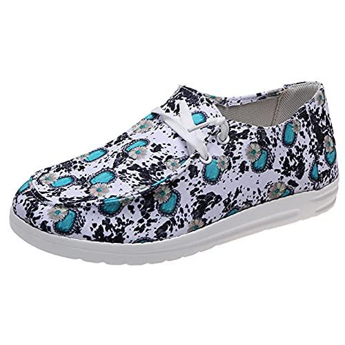 Qserd Chaussures décontractées pour Femmes à la Mode, Confortables et Confortables, Chaussures en Toile à Fleurs à Enfiler, Chaussures Plates élégantes