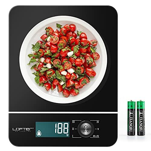 LOFTer Digitale Küchenwaage, Küchengeräte 2 Batterien Elektronische Lebensmittelwaage mit LED-Anzeige Tempered Glass Food Weighing Scale Genauigkeit bis zu 1g