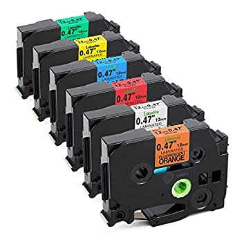 Labelife Compatible Label Tape Replacement for Brother P Touch TZe Label Tape 12mm 0.47 Inch Black on White/Orange/Red/Blue/Yellow/Green for Ptouch PT-D210 H110 Label Maker Laminated 6-Pack