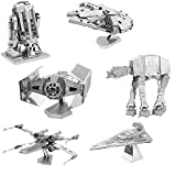 fascinations Metal Earth 3D Model Kits Star Wars Set of 6 Millennium Falcon - R2-D2 - X-Wing Starfighter - at-at - Darth Vader's TIE Fighter - Imperial Star Destroyer