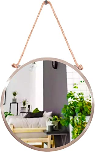 MORii - Metal Frame Round Mirror Boho Rope Decor Full Nickel | Mirrors for wall | Wall Mirrors decorative | Round mir...