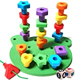 Peg Board Stacking Toddler Toys - Lacing Fine Motor Skills Montessori Toys for 3 4 5 Year Old Girls and Boys | Educational Matching Shapes Kids Toys with Pegs, Activity eBook & Travel Backpack