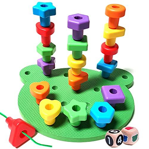 KIDS KORNER Jumbo Shapes Peg Board Toddler Games Set - Educational Baby Toys for Toddlers Stacking Sensory Toys, Peg Math Manipulatives, Toy Storage Backpack & Learning Activities eBook