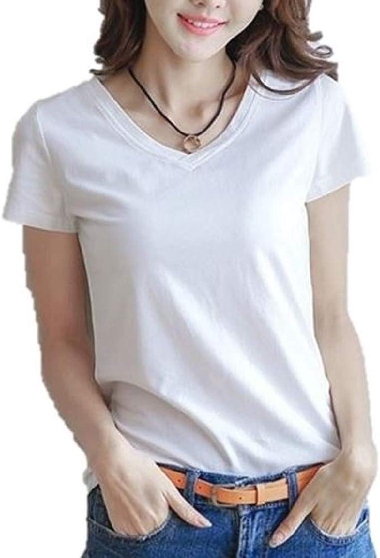 Hugesmil Womens Summer Casual - T- Shirt V - Neck Lightweight Top Tee