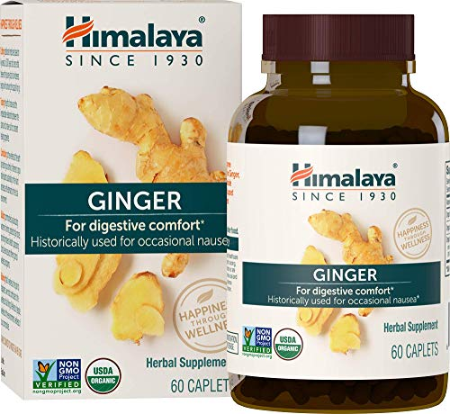 Himalaya Organic Ginger, Digestive Relief Supplement for Nausea, Gas and Occasional Upset Stomach, 820 mg, 60 Caplets, 2 Month Supply
