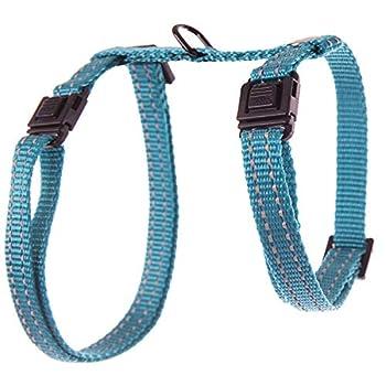 Martin Sellier Harnais Chat ou Petit Chien Haute qualité Coutures réfléchissantes et Boucle Anti-étranglement réglable 35 à 50cm (Bleu)