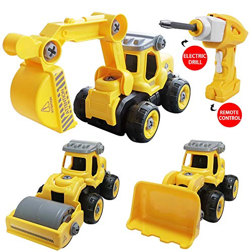 Aspiree SZJJX 3 in 1 Construction Truck Toys Converts to Remote Control Car Kids DIY Stem Building Blocks Toy for 3,4,5,6 Year Boys and Girls Gift with Electric Drill Toys