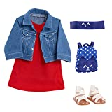 Journey Girls 18 Inch Doll Fashion Outfit Set Denim Jacket & Tunic Set, Amazon Exclusive