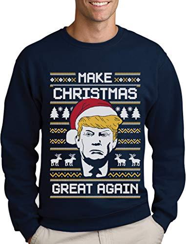 Green Turtle T-Shirts Make Christmas Great Again Trump Herren Ugly Christmas Sweater Sweatshirt Large Marineblau