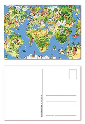 12 Stück Postkarten Wimmelbild schöne Weltkarte für Kinder, Ansichtskarte im DIN A6 Format (PKT-145)