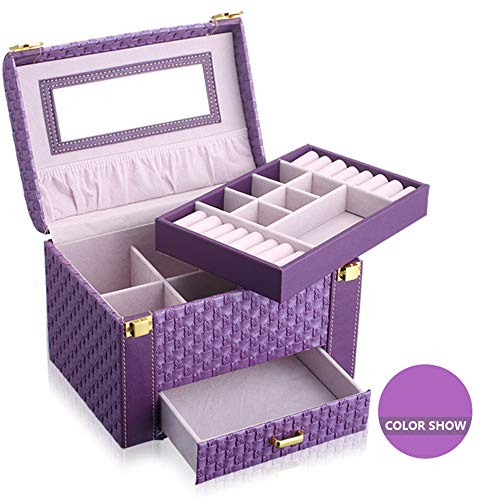 ZYC Girls Jewelry - Joyero organizador, mini maletín de viaje, espejo, organizador de relojes, con cerradura, color morado