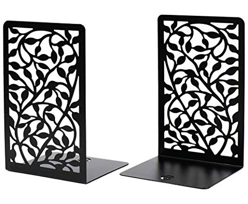 CNK Bookends , Premium Book Ends for Book Shelves, Metal Book Ends for Home Office Heavy Books, Book Shelf Holder, Home Decorative, Book Stoppers, Book Holder, Set of 2 Black Infinite Leaves Bookends