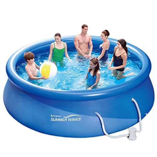 Summer Waves Piscine de 366x91cm, installation rapide, idéale pour la famille, avec pompe de filtration