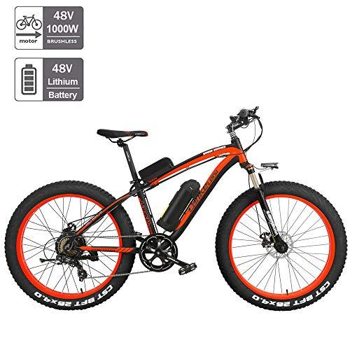 Nbrand 26 Zoll elektrisches Fatbike Snowbike, 26 * 4.0 Fat Tire Mountainbike, abschließbare Federgabel, 3 Fahrmodi (Red, 1000W Plus 1 Ersatz 17Ah)