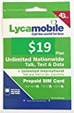 Lycamobile USA Prepaid Sim Cards Include 30 Days Service Plan ($19)