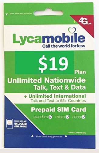 Lycamobile USA Prepaid Sim Cards Include 30 Days Service Plan ($19)
