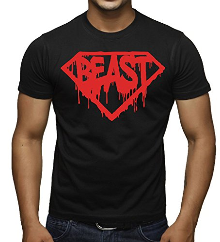 Interstate Apparel Inc Red Melting Super Beast Men's Black T-Shirt Black