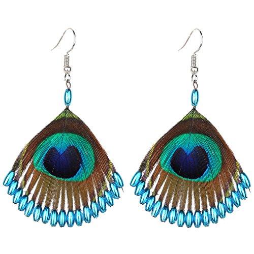 YAZILIND Mode Zubehör Hübsche Pfau Feder blau Perle Legierung Anhänger Fischhaken Ohrringe (blau)