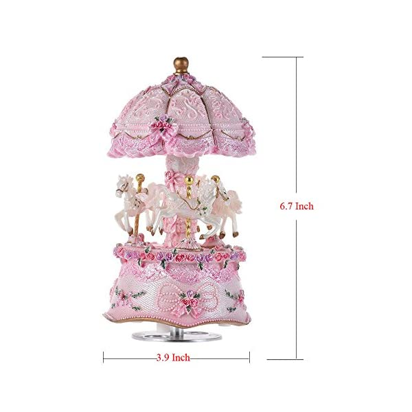 ACCOCO Carousel Music Box Luxury Color Change LED Light Luminous Rotating 3-Horse Carousel Horse Music Box Melody… 8